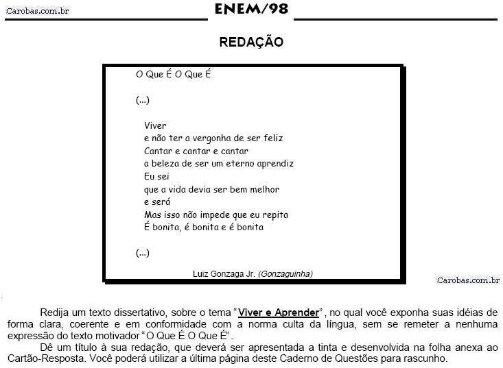 Redação ENEM 1998 PROVA AMARELA