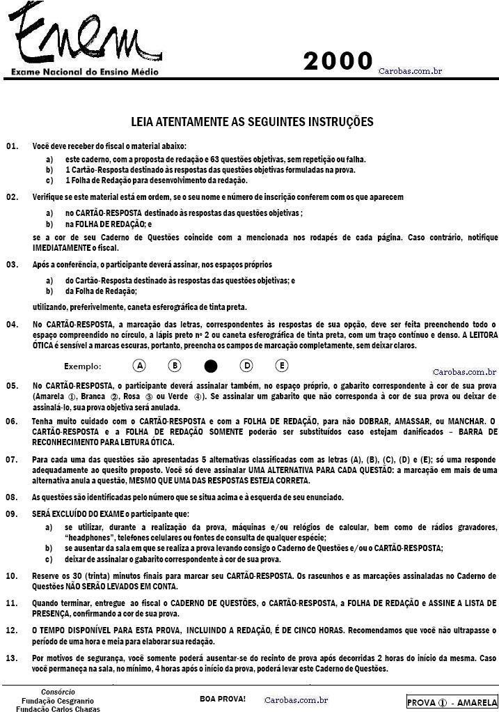 Instruções ENEM 2000 PROVA AMARELA
