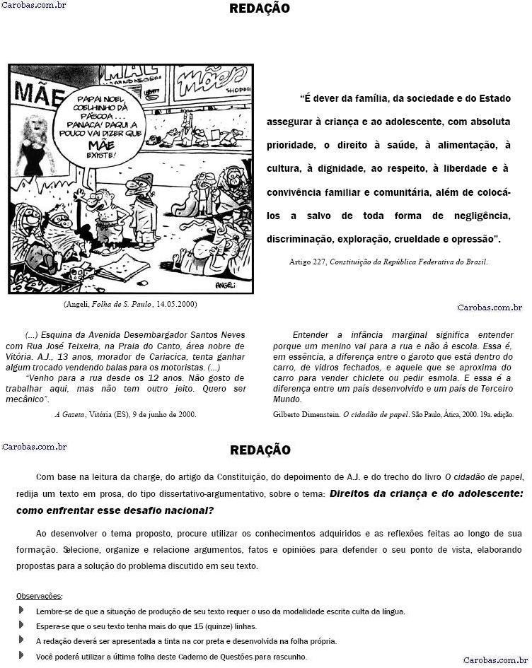 Redação ENEM 2000 PROVA AMARELA