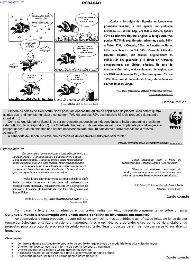 Redação ENEM 2001 PROVA AMARELA