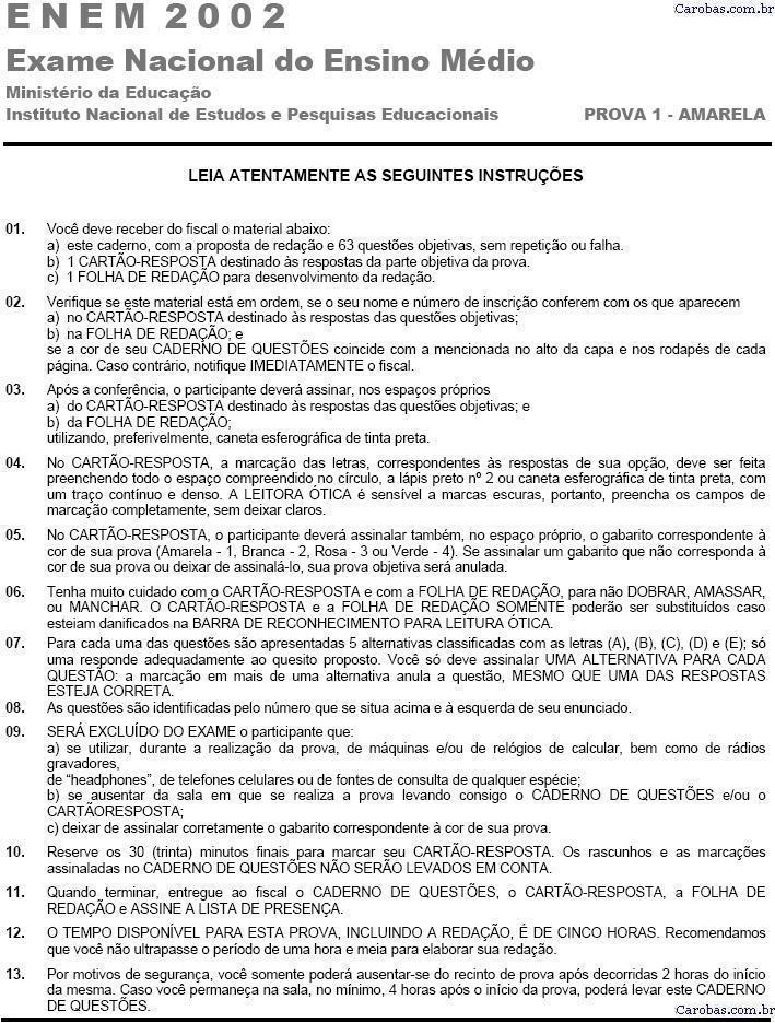 Instruções ENEM 2002 PROVA AMARELA