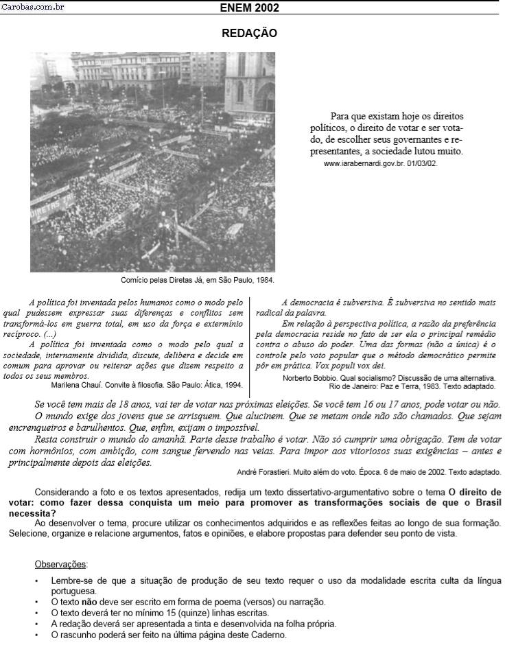 Redação ENEM 2002 PROVA AMARELA