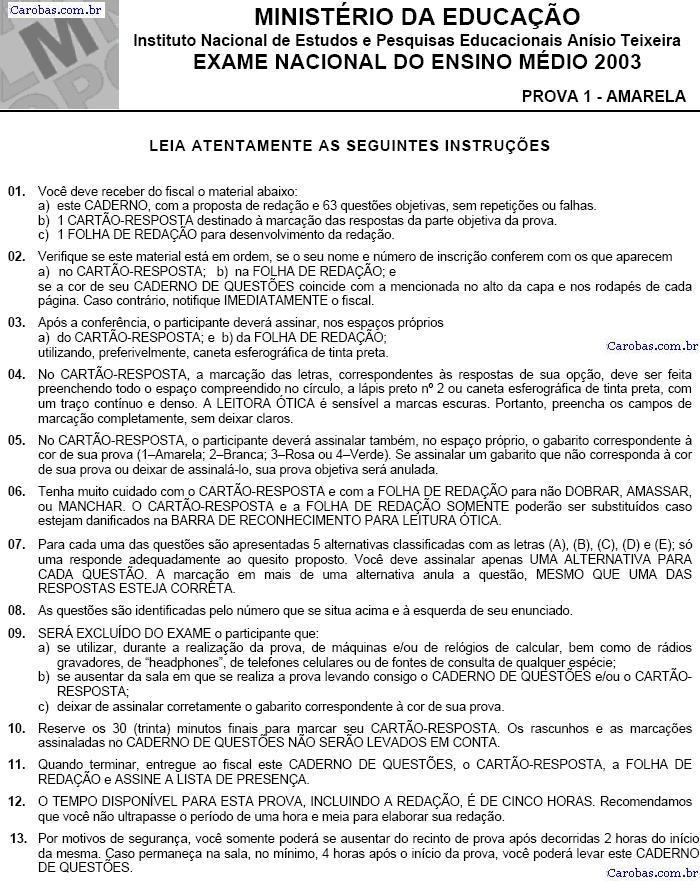 Instruções ENEM 2003 PROVA AMARELA