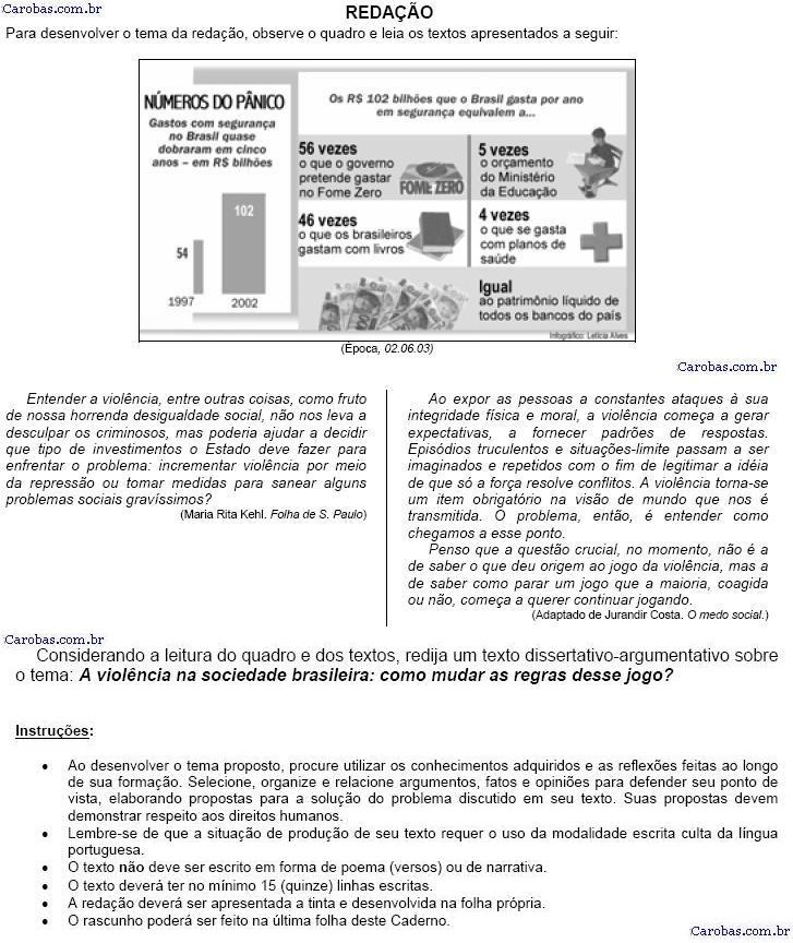 Redação ENEM 2003 PROVA AMARELA