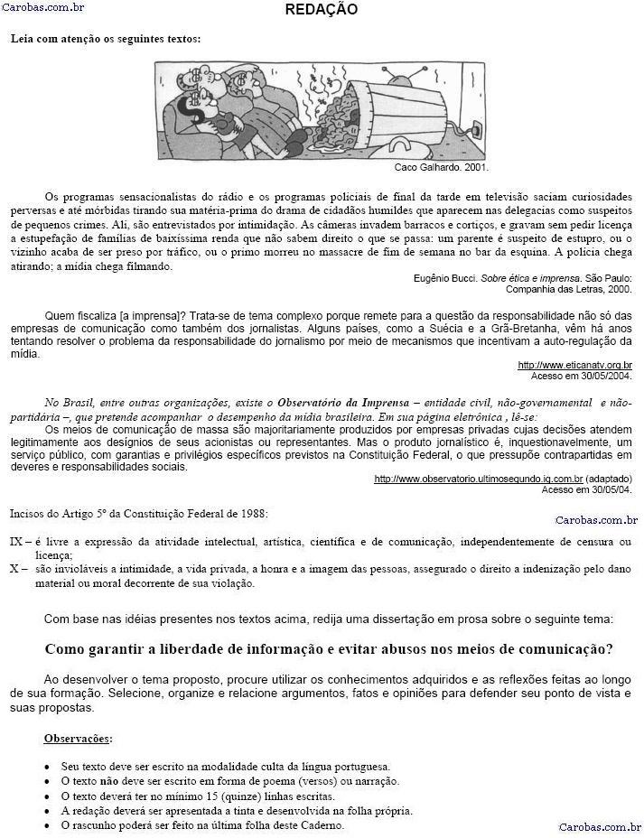 Redação ENEM 2004 PROVA AMARELA