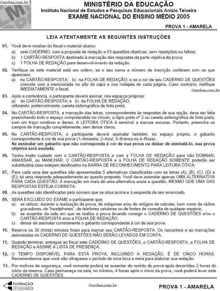 Instruções ENEM 2005 PROVA AMARELA