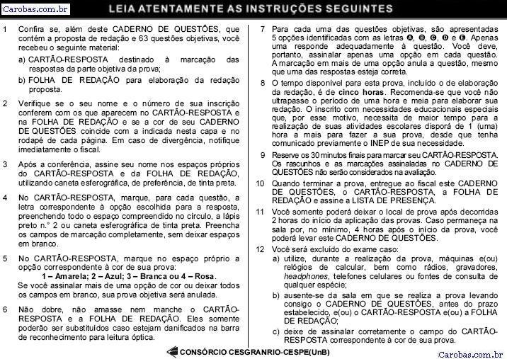 Instruções ENEM 2006 PROVA AMARELA