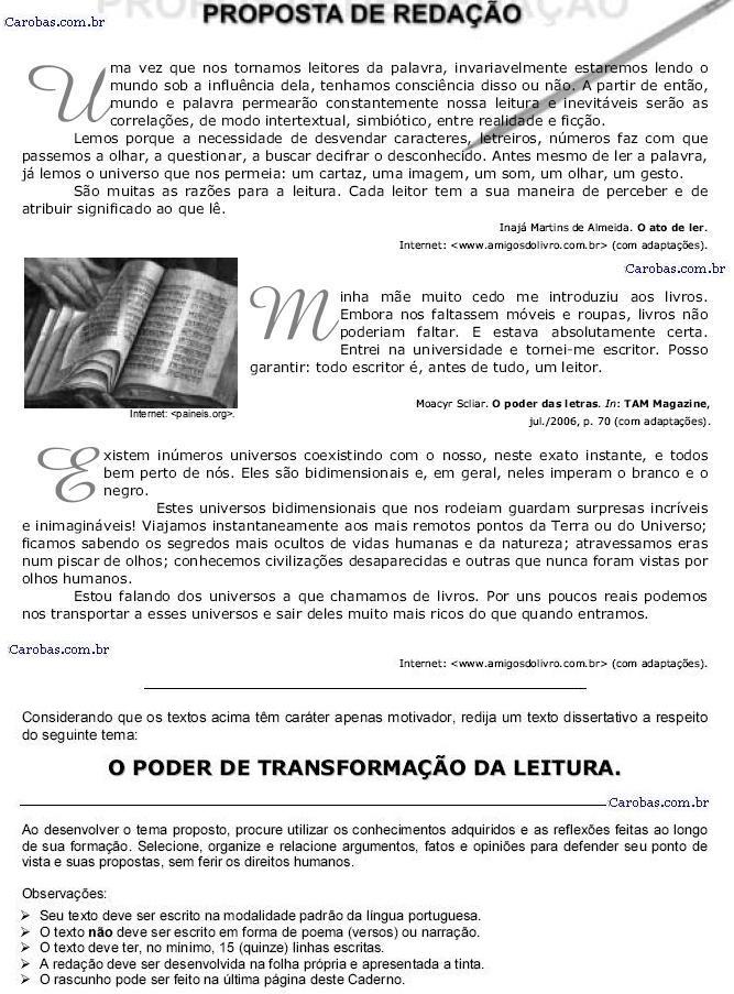Redação ENEM 2006 PROVA AMARELA