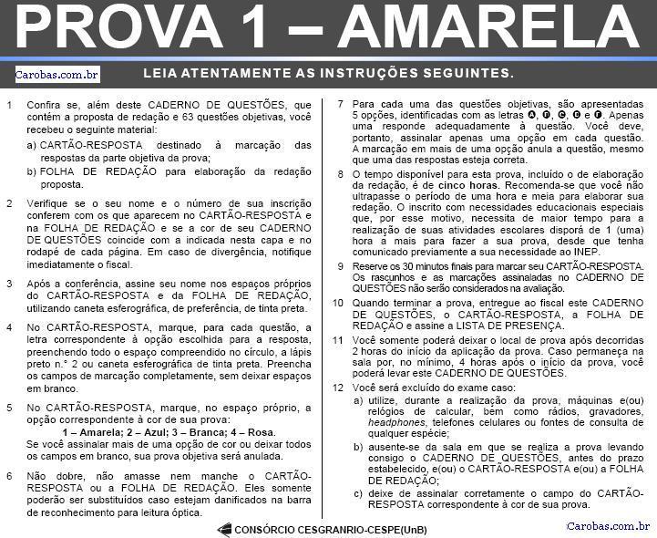 Instruções ENEM 2007 PROVA AMARELA
