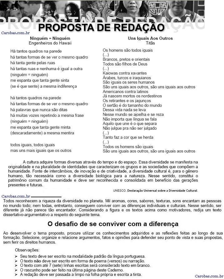 Redação ENEM 2007 PROVA AMARELA