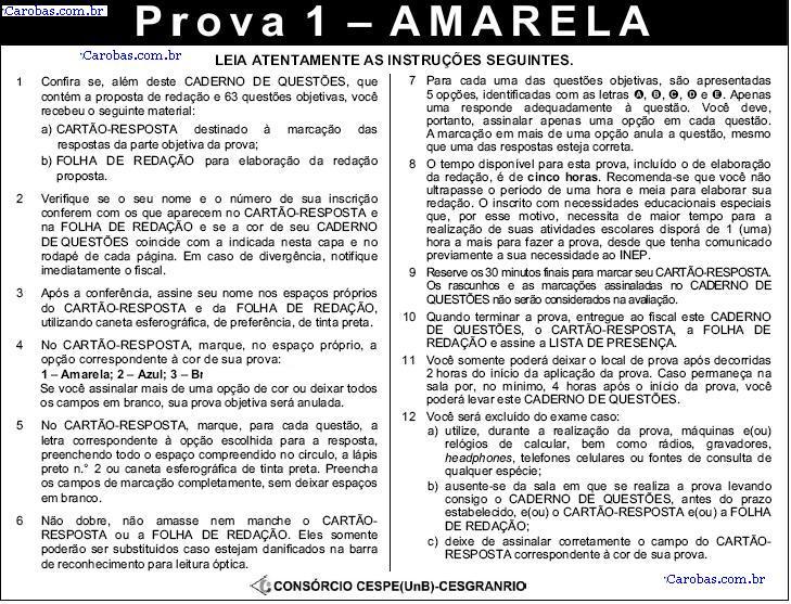 Instruções ENEM 2008 PROVA AMARELA