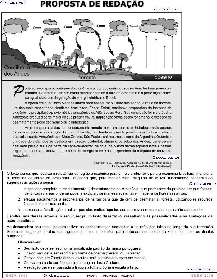 Redação ENEM 2008 PROVA AMARELA