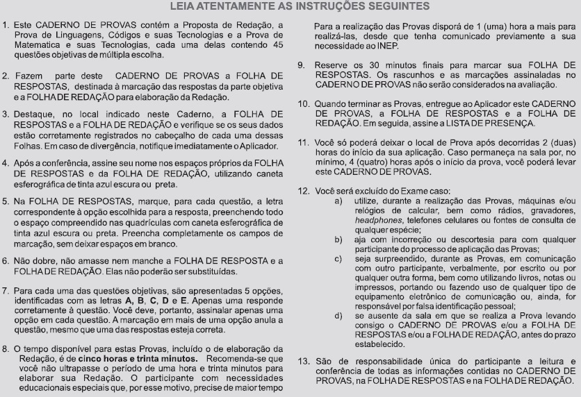 Instruções ENEM 2009 PROVA CANCELADA DIA2