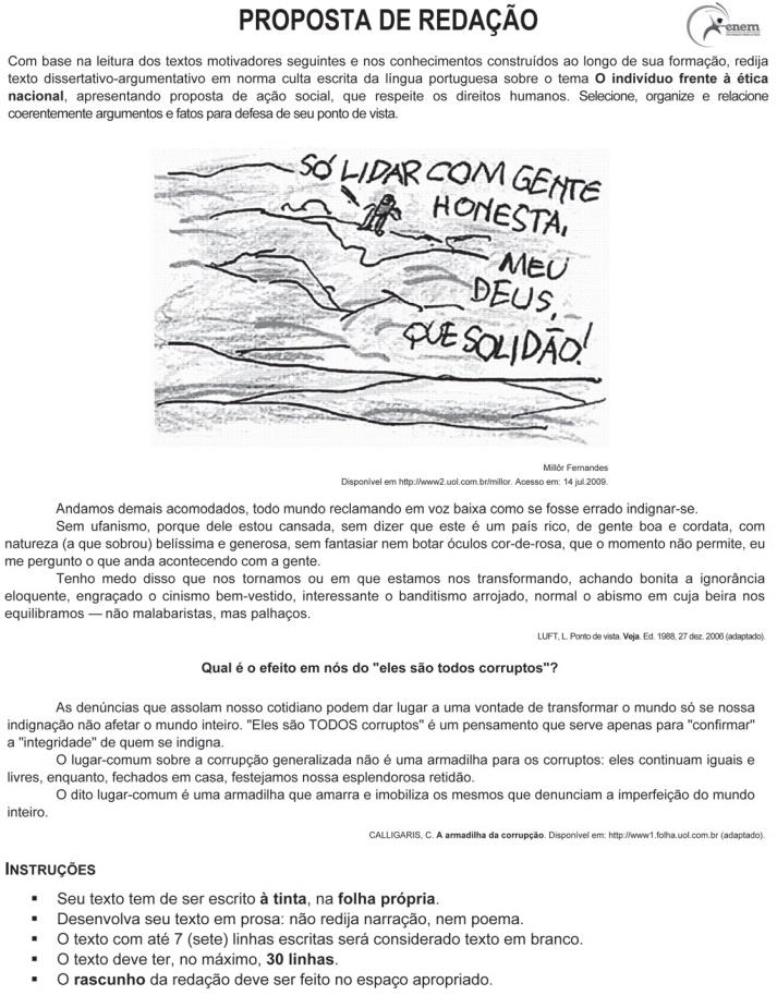 Redação ENEM 2009 PROVA DIA2