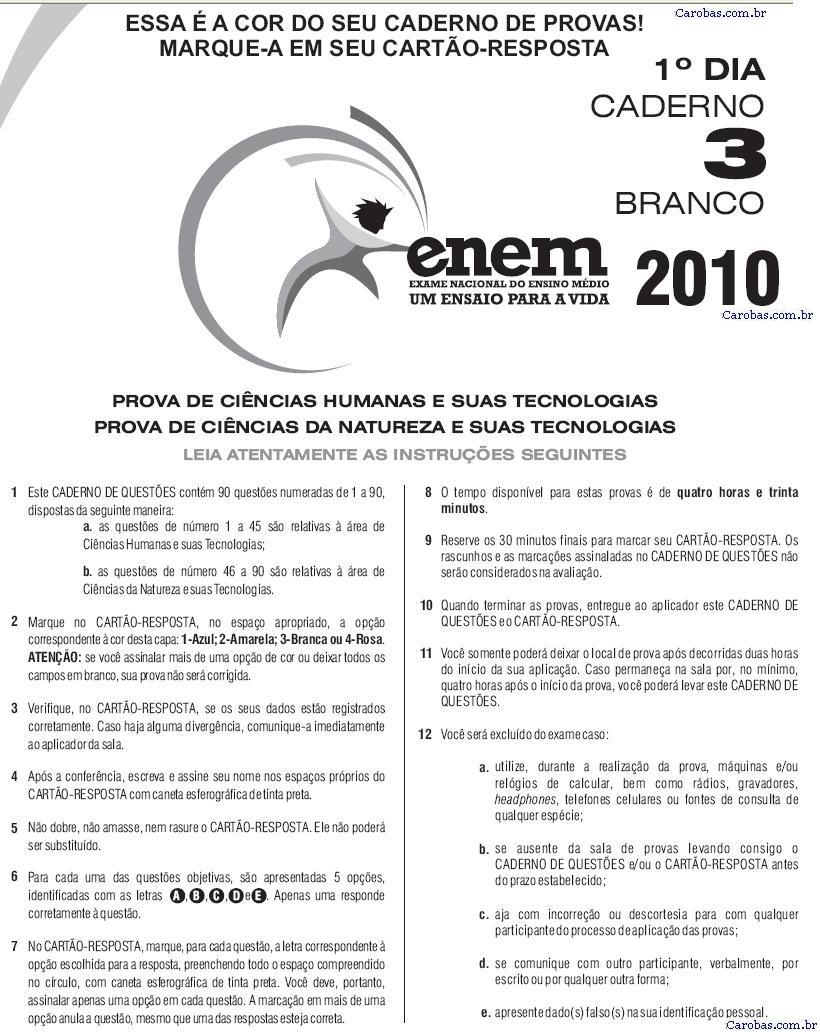 Instruções ENEM 2010 PROVA DIA1