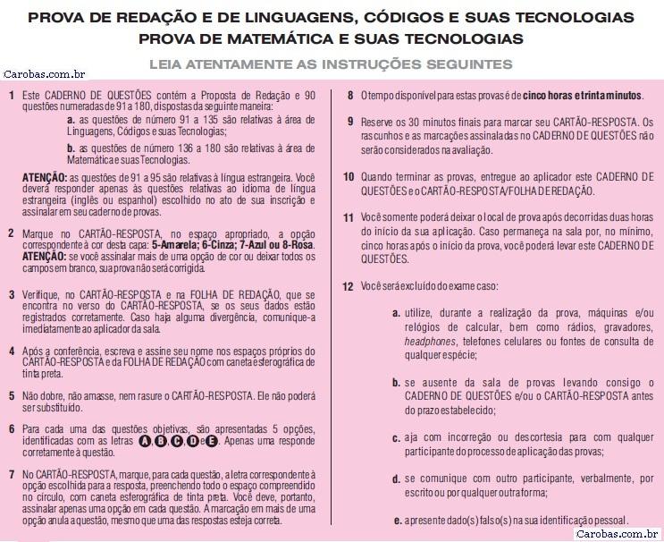 Instruções ENEM 2010 PROVA DIA2