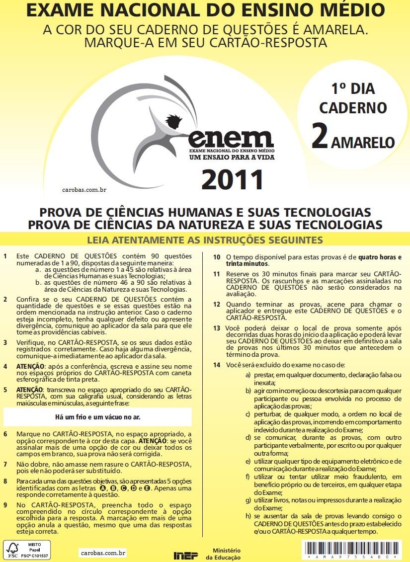 Instruções ENEM 2011 PROVA DIA1