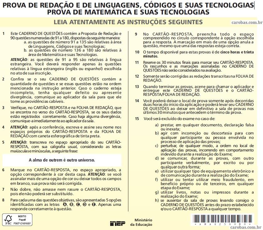 Instruções ENEM 2011 PROVA DIA2