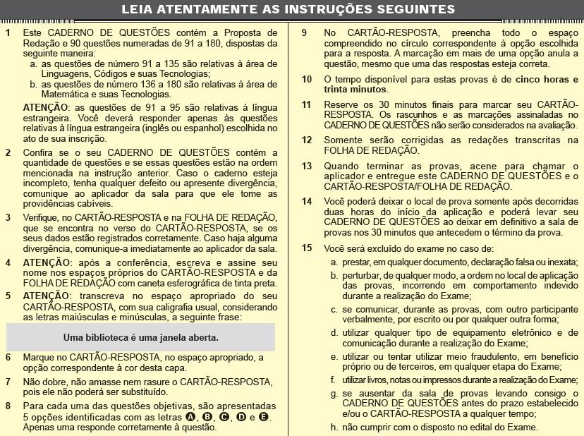 Instruções ENEM 2012 PROVA DIA2