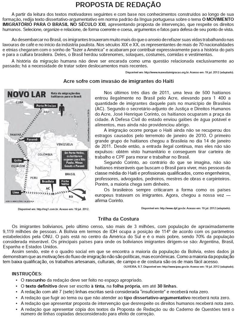Redação ENEM 2012 PROVA DIA2