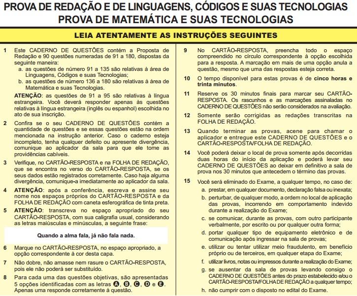 Instruções ENEM 2013 PROVA DIA2