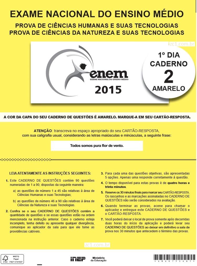 Instruções ENEM 2015 PROVA DIA1
