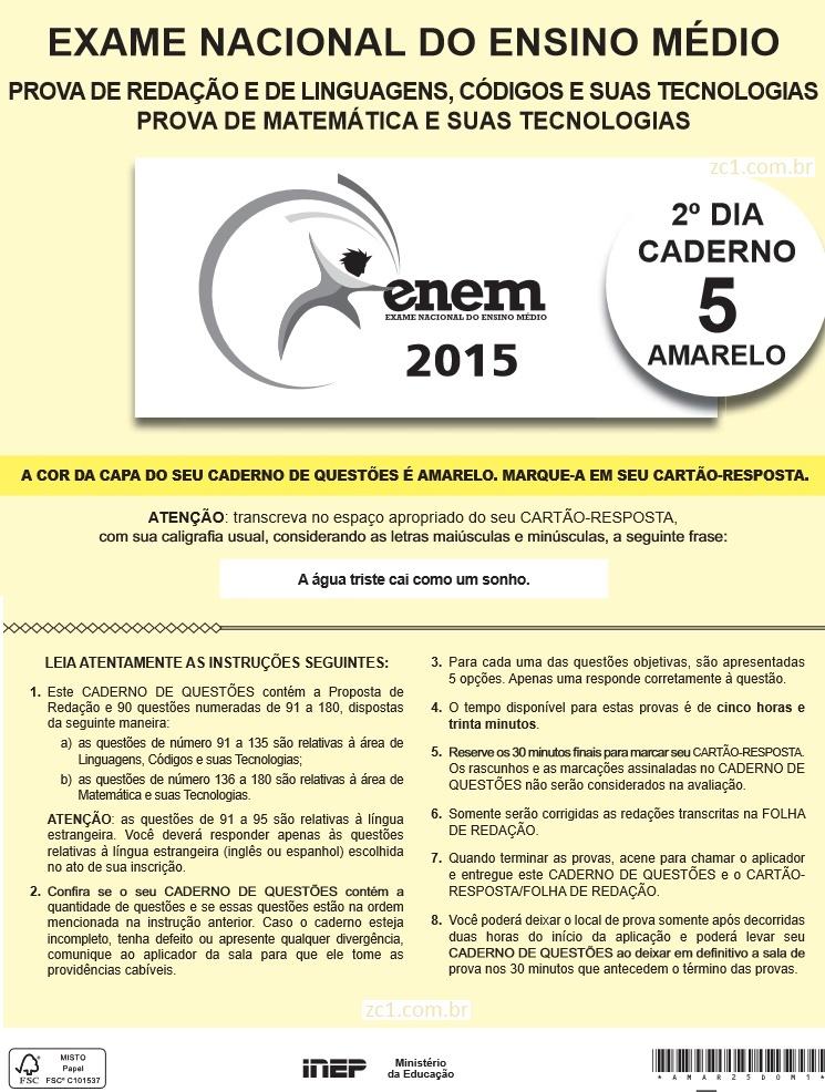Instruções ENEM 2015 PROVA DIA2