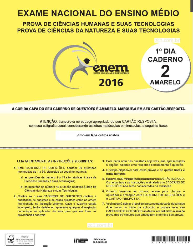 Instruções ENEM 2016 PROVA DIA1