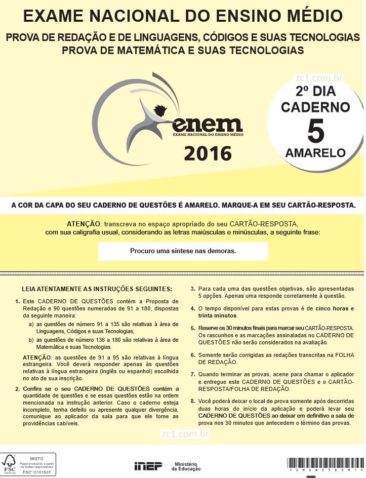 Instruções ENEM 2016 PROVA DIA2