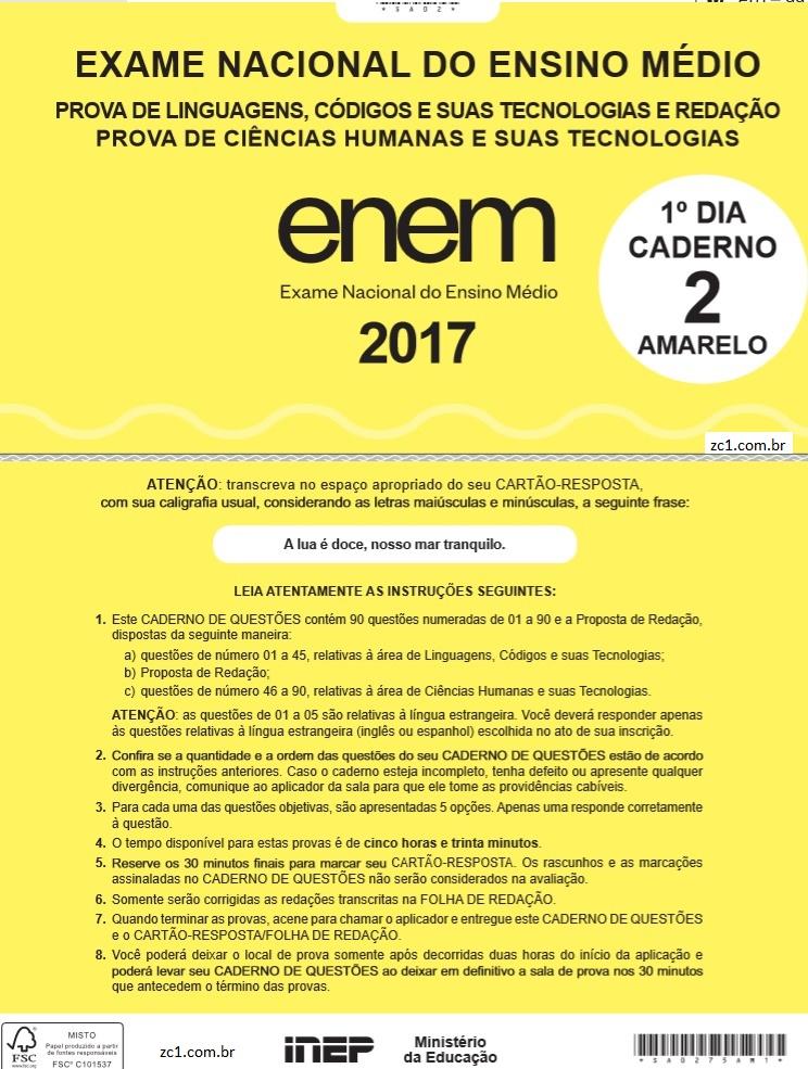 Instruções ENEM 2017 PROVA DIA1