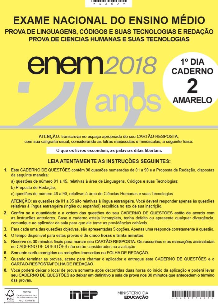 Instruções ENEM 2018 DIA1