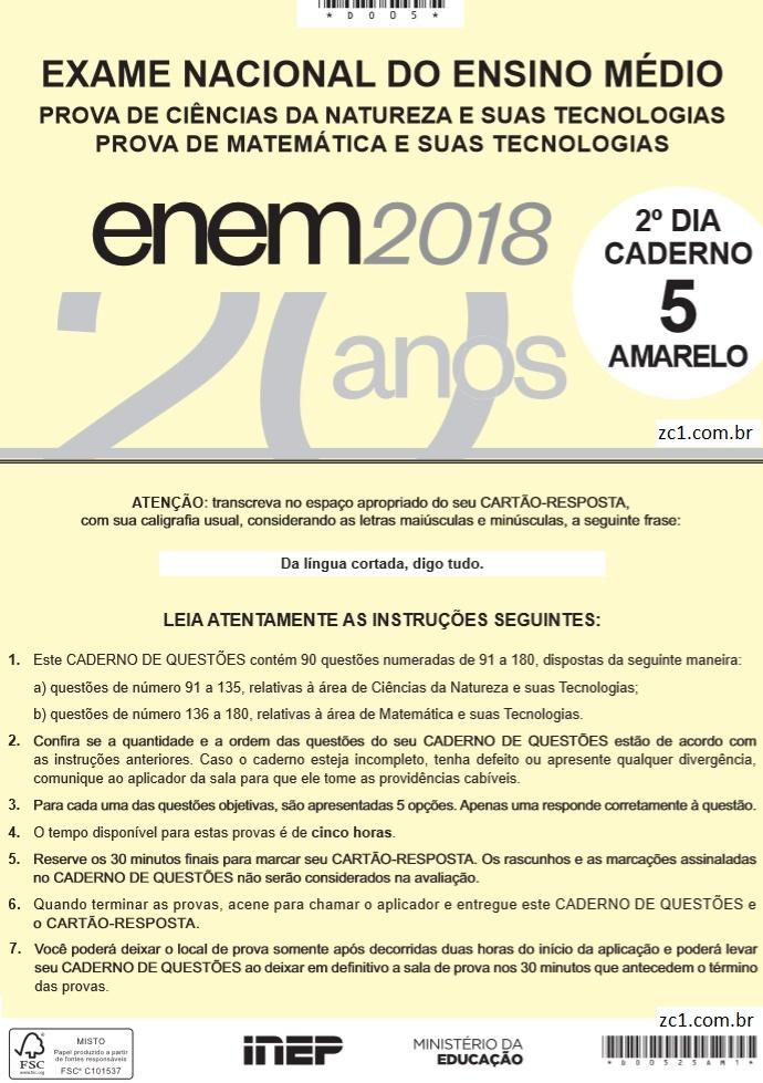 Instruções ENEM 2018 DIA2